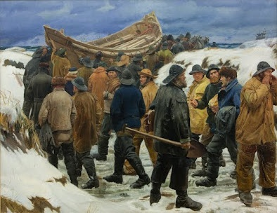The Lifeboat is Taken through the Dunes (1883) by Michael Ancher, husband of Anna Ancher, both Danish painters from the Skagen Colony. Danish State Museum of Art.