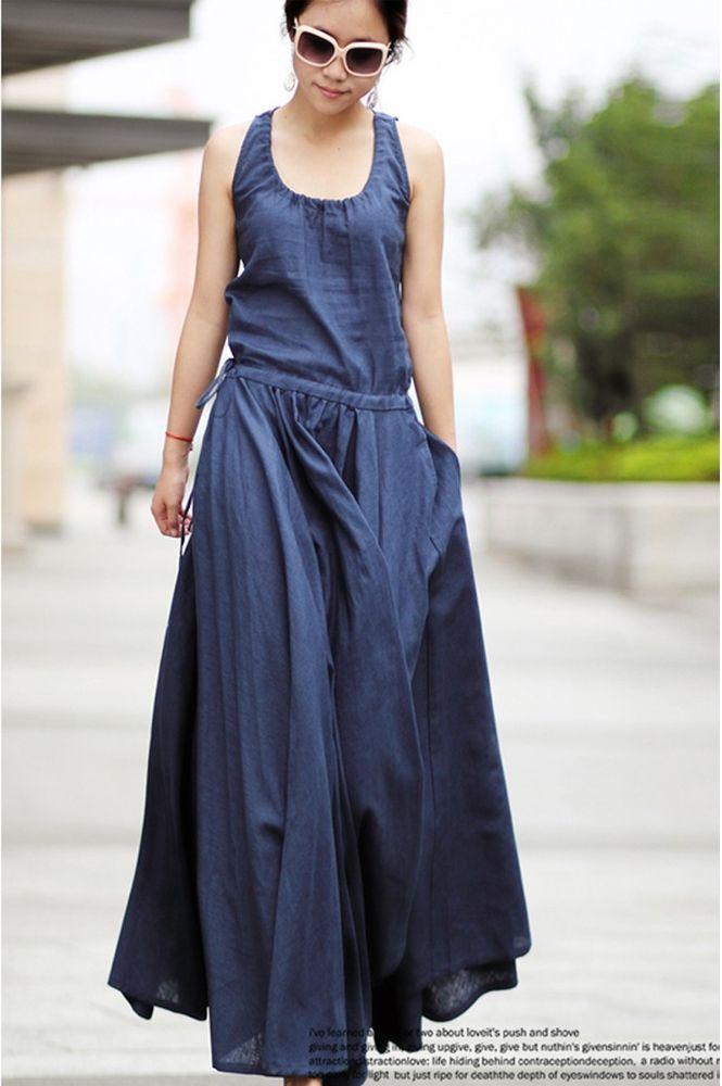 2014 Women's ultra long Linen dress Maxi dress Women Casual summer Party dresses