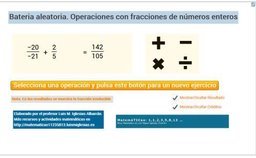 Batería aleatoria y autocorregible de operaciones con fracciones de números enteros #Geogebra #html5 #mlearning – MatemáTICas: 1,1,2,3,5,8,13,…