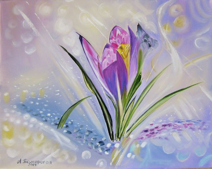 """Original oil painting on canvas. """"Crocuses"""" inspired by A. Maranov. 16"""" x 20""""."""