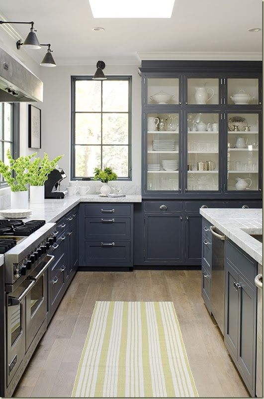 greige: interior design ideas and inspiration for the transitional home by christina fluegge: a little kitchen inspiration...: Cabinets Colors, Dark Cabinets, Grey Cabinets, Kitchens Ideas, Grey Kitchens, Glasses Cabinets, Gray Cabinets, Gray Kitchens, Kitchens Cabinets