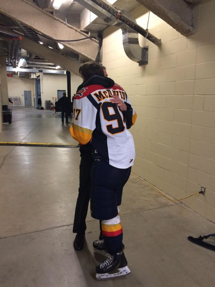 Sometimes you need a hug from your Dad. Connor McDavid of the Erie Otters following 6-5 overtime loss to the Oshawa Generals