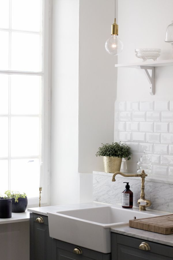 white kitchen with grey cabinets and brass details: Decor, Ideas, Interiors, Farms Sinks, Farmhouse Sinks, Bathroom, Subway Tiles, Kitchens Sinks, White Kitchens