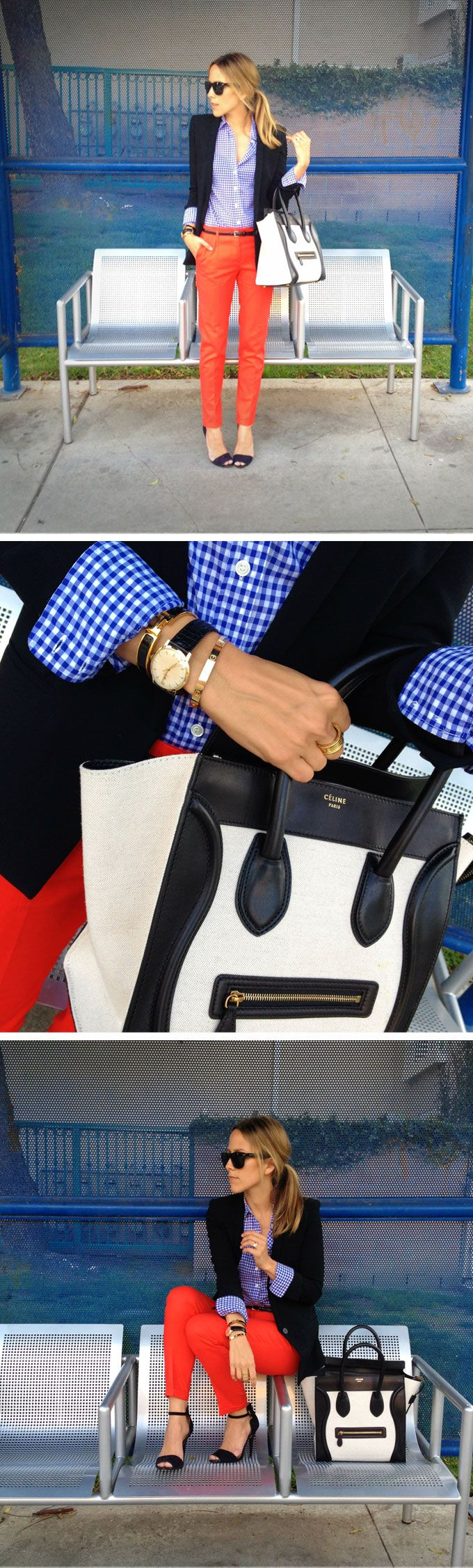 Coral trousers, blue gingham shirt, navy blazer, and Celine bag.