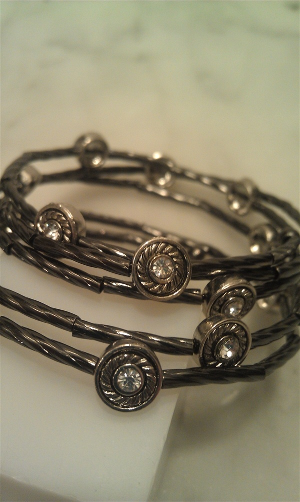 $24 Mixed Metal & Circle Crystals Wrap Bracelet. Order by Tuesday 12/18 and get by Christmas!