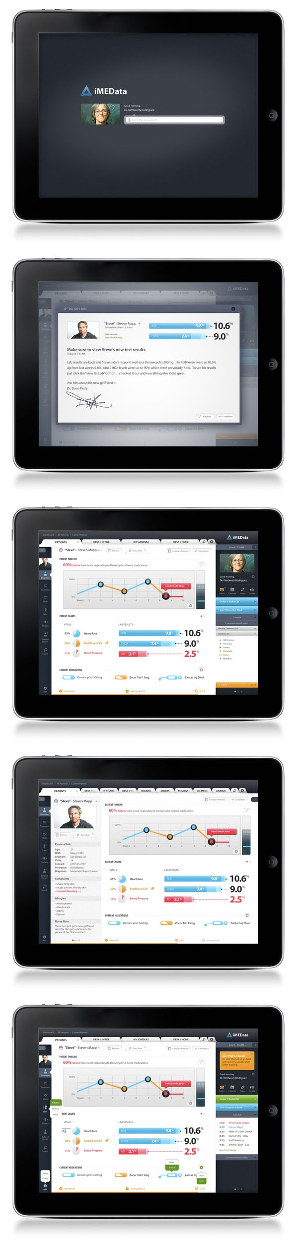 iMEData iPad Application by Dann Petty, via Behance   ***   The new way doctors interact is with this iPad application.