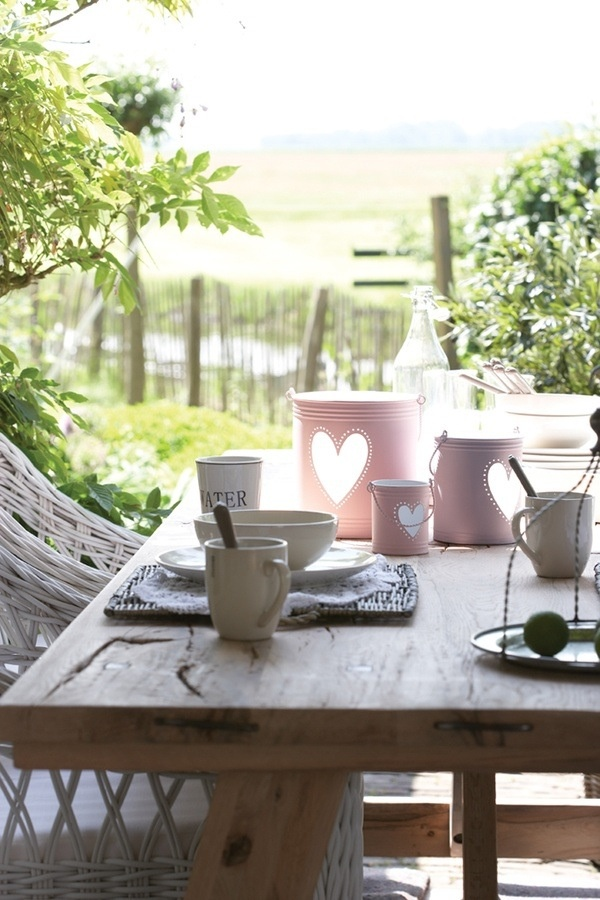 Breakfast in the garden. A beautiful solid wood table