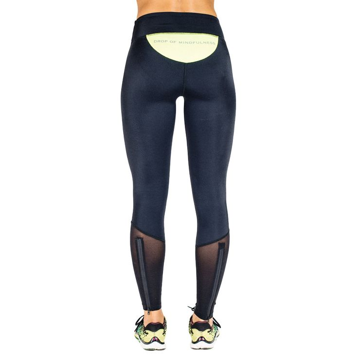 Drop of Mindfulness Orion Fitness running run Legging Black Yellow Mesh Legs Zip  / Mallas Negras Amarillo Back con cremallera para correr