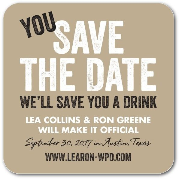 Save a Drink - Save the Date Coasters in Mustard or Black | Magnolia Press