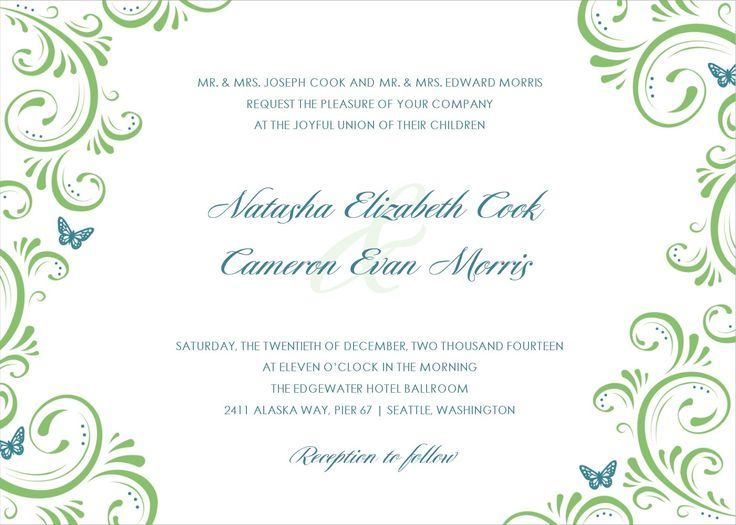 FREE TEMPLATE-LOOK AT WORDING Wedding Invitation Template Best - free wedding card template