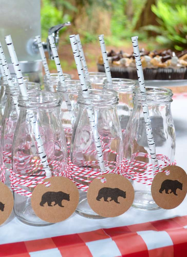 Woodsy drinks at a camping baby shower party! See more party ideas at CatchMyParty.com!