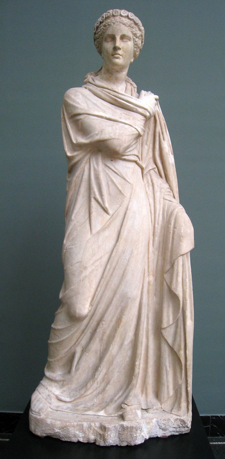Roman statue of Polyhymnia, 2nd century AD, depicting her in the act of dancing.