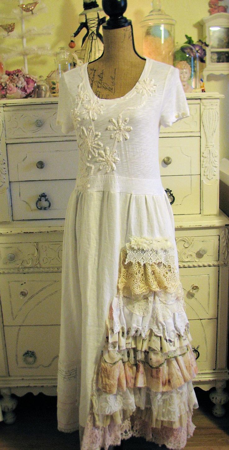 Mori Girl Shabby Chic White Applique Ribbon Ruffle Dress