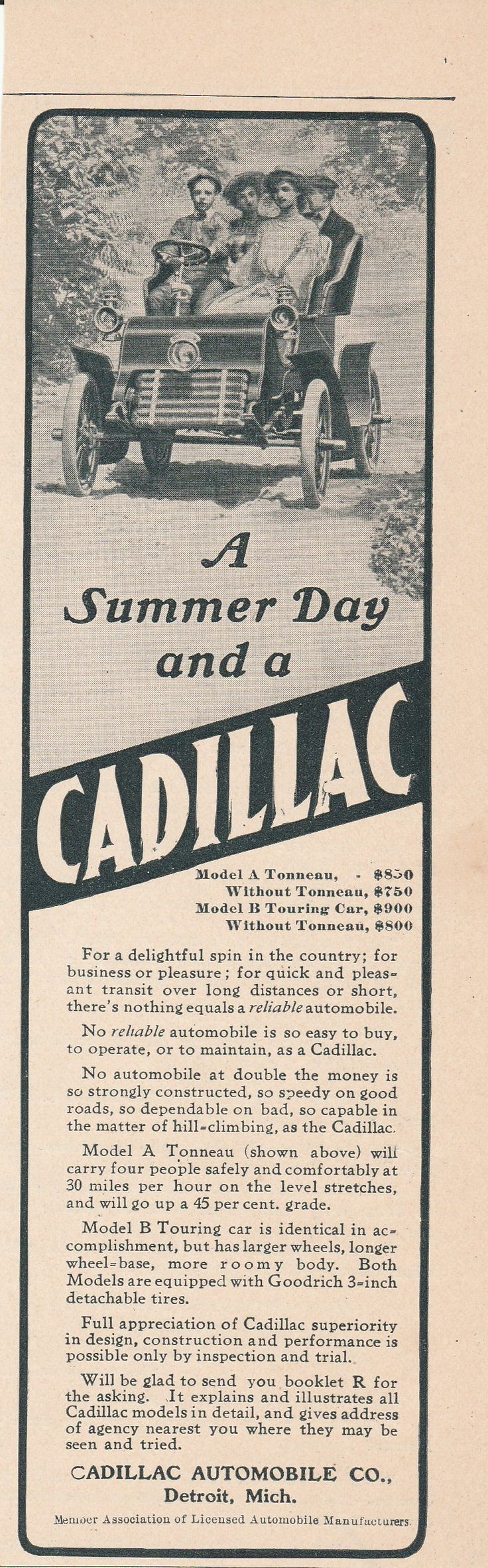 1904 Cadillac Model A and Model B - vintage ad