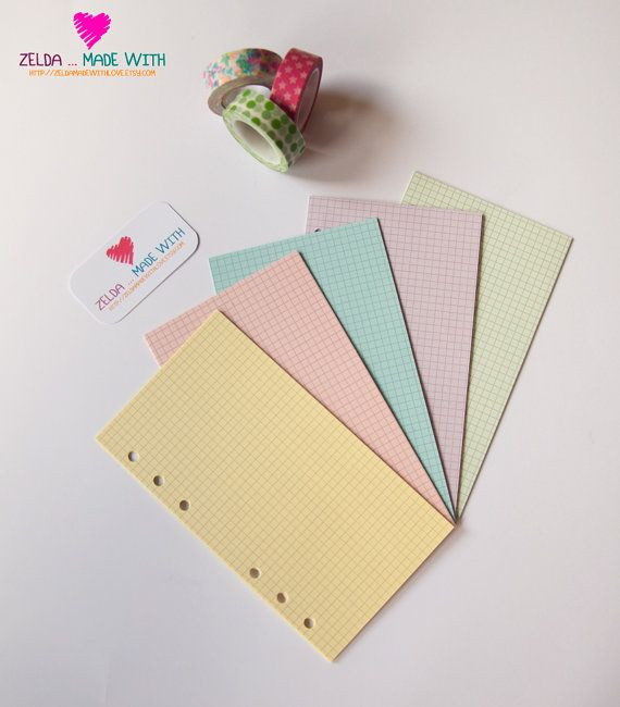❤ The set of Personal Filofax Refills Squared Notepaper - Pastel was created for the Filofax Personal, Pocket and A5    5 Color x 10 sheet