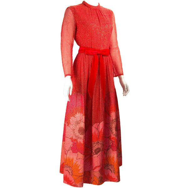 Preowned 1970s Mollie Parnis Red And Gold Dress ($495) ❤ liked on Polyvore featuring dresses, maxi dresses, red, floral print maxi dress, floral maxi dress, long red dress, floral print dress and gold maxi dress