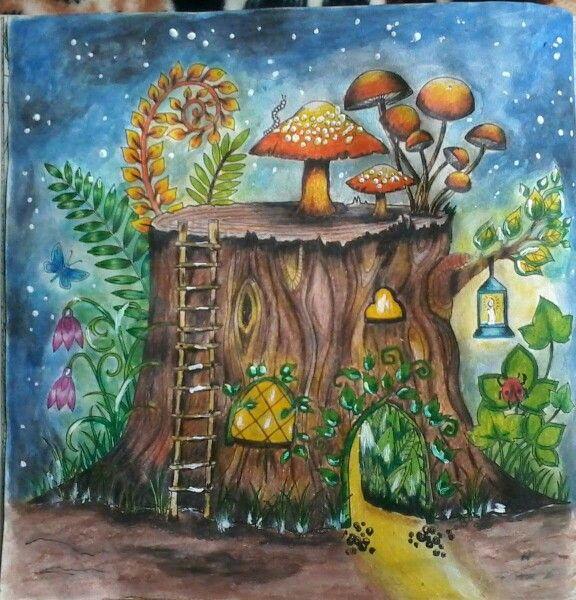 Tree Trunks Coloring Books Colouring Johanna Basford Mushrooms Forests Vintage Fungi Mushroom