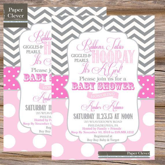 girls tutu invitation tutus u0026 pearls girls baby shower invitation pink gray
