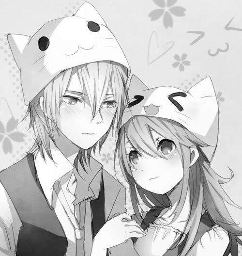 Cute anime couple with neko hats when they met the - Cute anime couple pictures ...