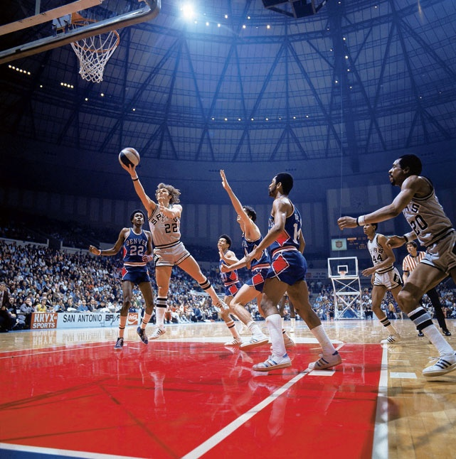 1975.  Spurs at Hemisfair Arena.  That's George Karl.  Who knew he had hair?