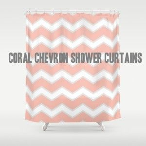 Beautiful coral chevron zig zag shower curtain designs for your bathroom decor. Sale and discount items and some qualify for free shipping.