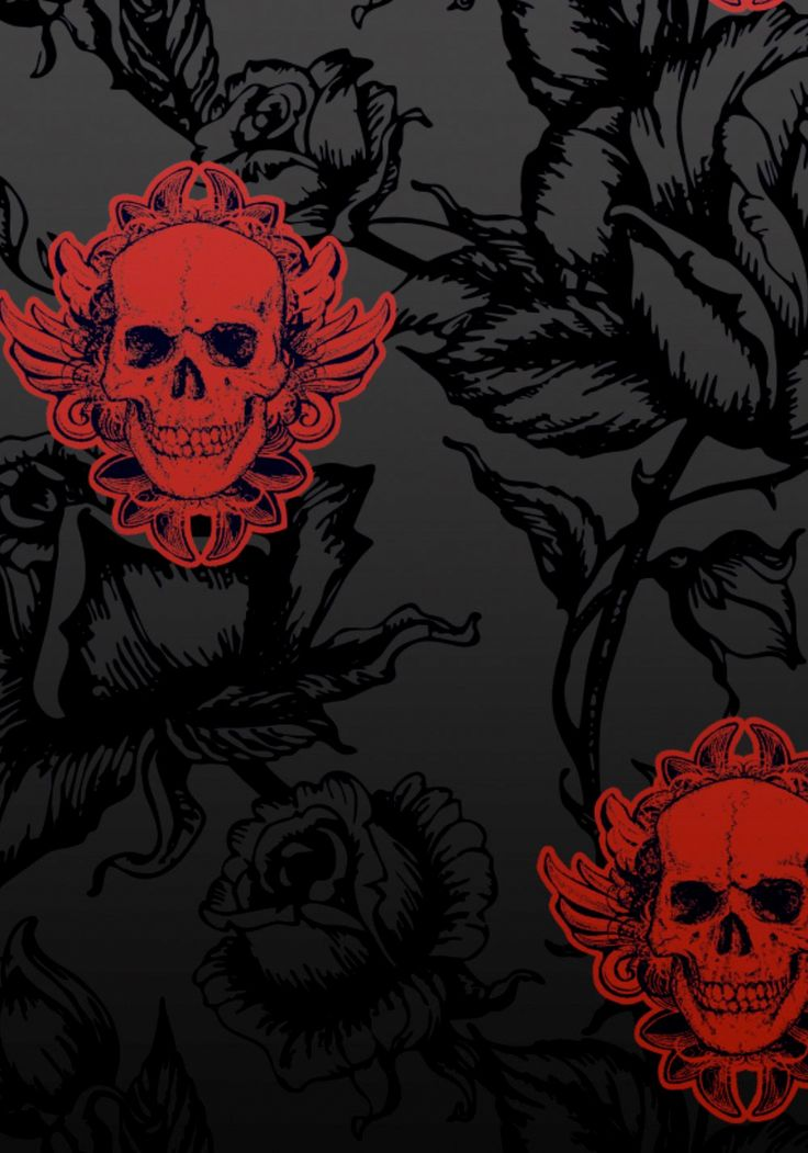 Large Winged Skull Black Red Wallpaper by Jilted