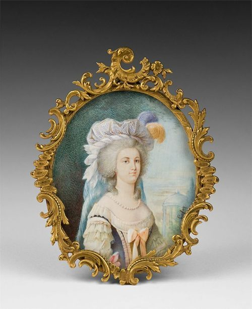Mid 19th century portrait of Marie Antoinette, signed Lafoy.