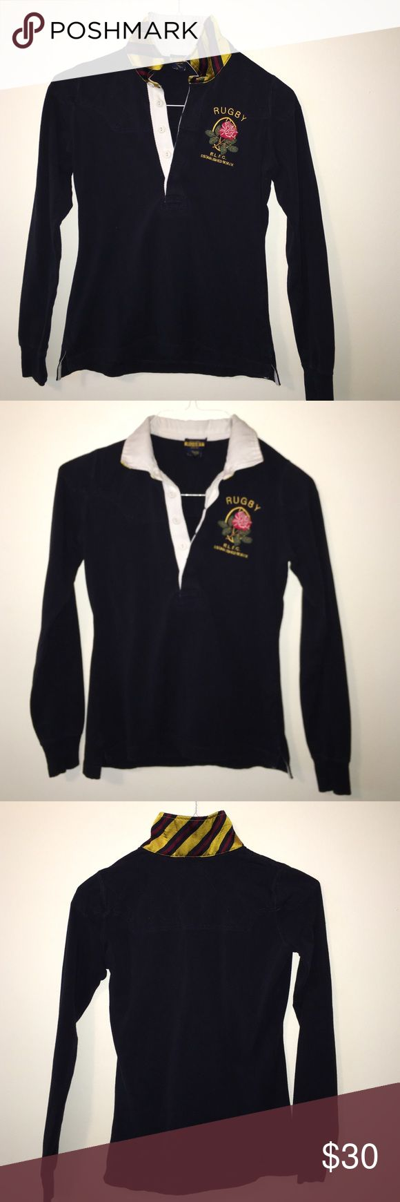 Ralph Lauren Women's Rugby Shirt! Dark blue long sleeve Ralph Lauren three button Rugby shirt! Like-new. Ralph Lauren Tops Tees - Long Sleeve