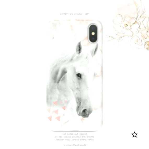 White Horse Rose Gold Marble Geometric iPhone Case  iPhone X Case iPhone XS Case iPhone XS Max Case iPhone XR Case  Plus Nf