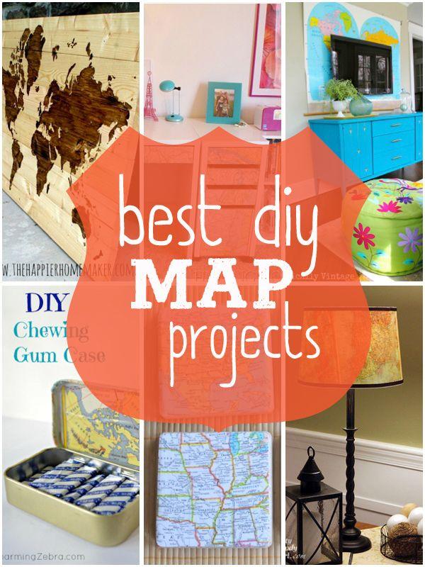 Best DIY Map Projects. Lots of great ideas! www.entirelyeventfulday.com #maps #diy