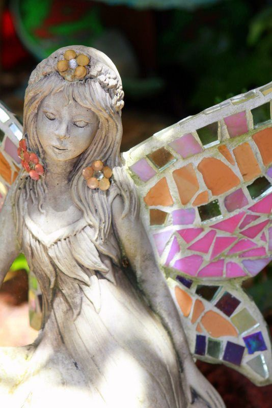 Fairy with mosaic wings- Creations by Toni Le Lievre https://www.facebook.com/creationsbytonilelievre