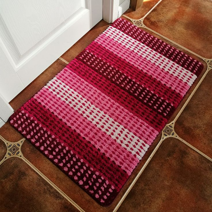 Hihome Modern Door Rugs Pink Stripe Non-Slip Outdoor Door Mats Inside Entrance Rugs 24-Inch By 35-Inch (Pink Gradient)