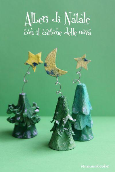 Alberelli di Natale con il cartone delle uova – DIY egg carton boxes Christmas trees