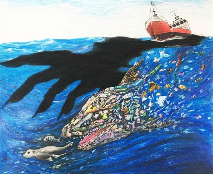 """""""Be Aware of Trash Shark"""" by Nicole Z., Honorable Mention Award Winner (Middle School) in the 2016 Ocean Awareness Student Contest #art #marinedebris #plastic"""