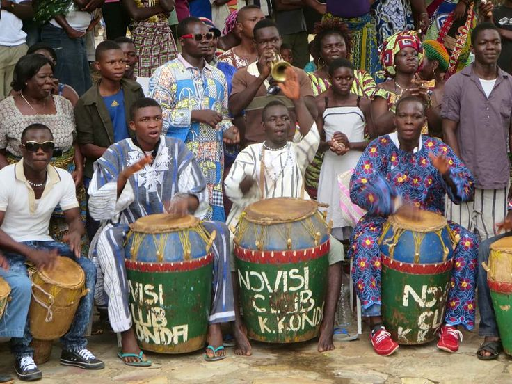 Ewa musicians pound out the beat at the Hotel Campement de Kloto in the Forêt de Missahohe at Kouma-Konda village near Kpalime, Togo.