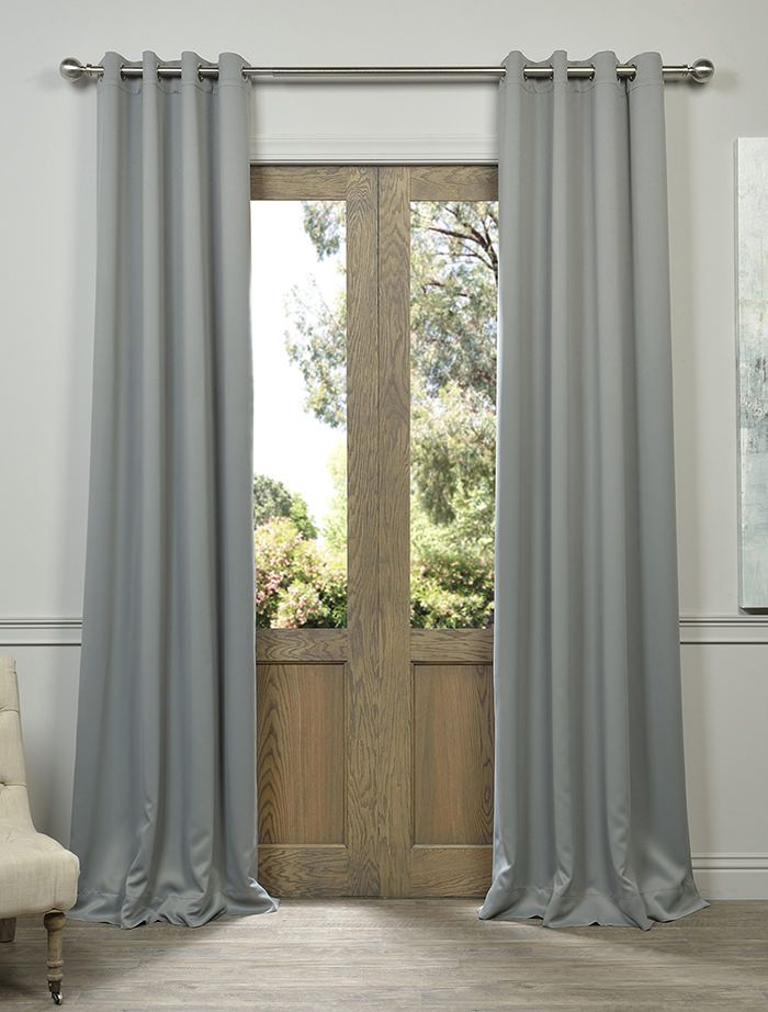 Exclusive Fabrics Grey Grommet Thermal Blackout Curtain Panel Pair Size 50  X 120 (Polyester, Solid)