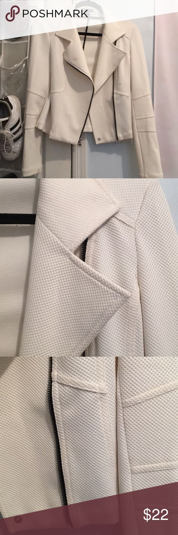 EXPRESS WHITE MOTO JACKET Express white Moto Jacket. Selling for over 75% off retail due to slight staining on lapel and left front panel. Nothing good dry cleaner couldn't fix! Awesome and sexy jacket! Express Jackets & Coats