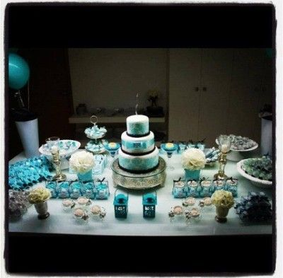 Blue Black and Silver Dessert Table <3 See More Cute Dessert Table Ideas at www.CarlasCakesOnline.com