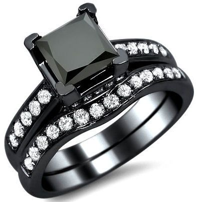 2.10ct Black Princess Cut Diamond Engagement Ring Wedding Band Set 14k Black Gold / Front Jewelers