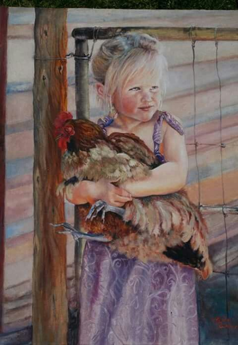 Girl with a chicken by Rita Weber