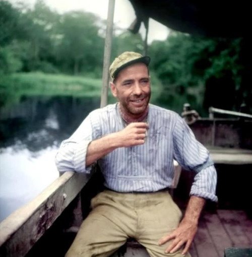 Humphrey Bogart on the set of The African Queen