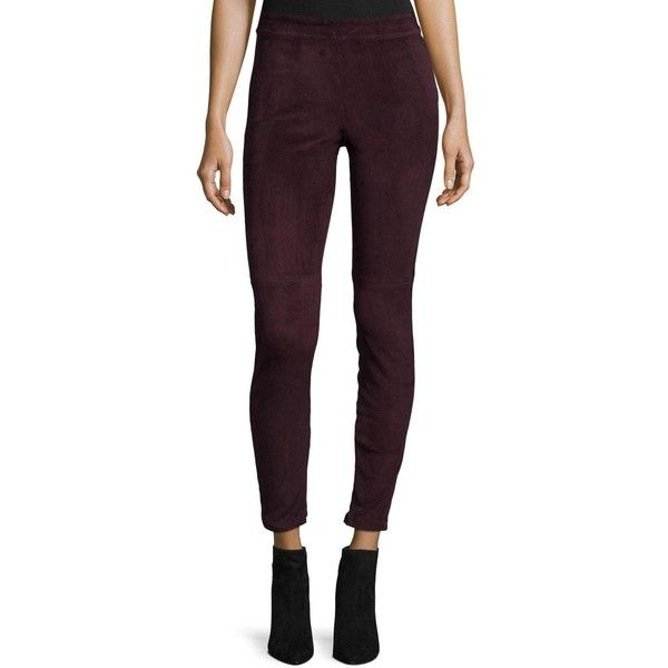 Elie Tahari Roxanna Suede Skinny Pants (6,300 EGP) ❤ liked on Polyvore featuring pants, capris, barolo, cropped pants, purple skinny pants, cropped trousers, cropped capri pants and super skinny pants
