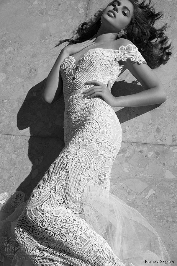 elihav sasson wedding dress 2015 off the shoulder plunging neckline lace sheath mermaid bridal gown