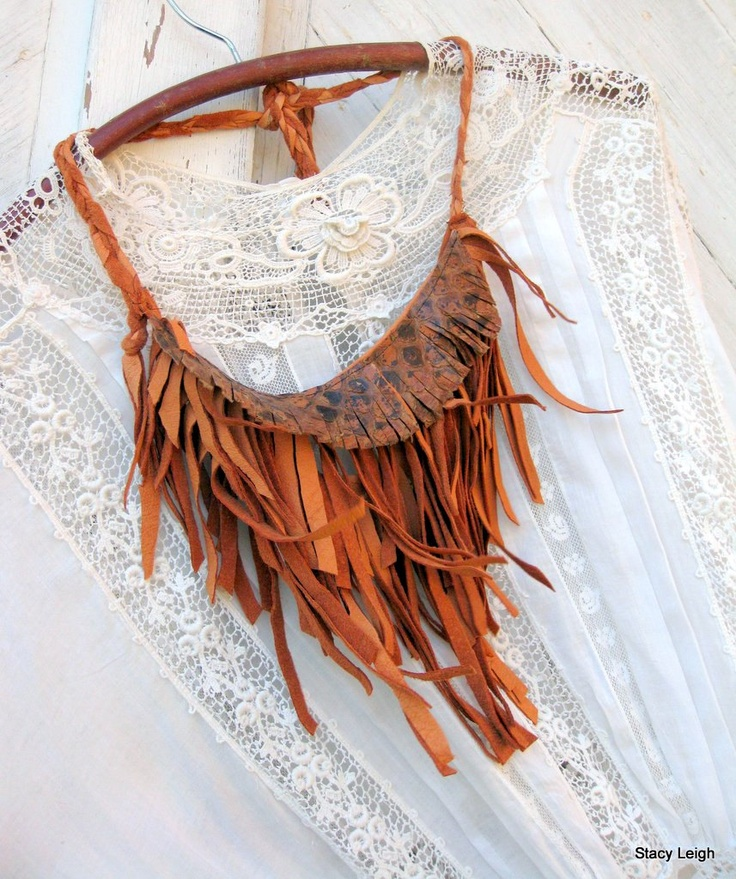 Native Leather Fringe Necklace in Butterscotch Brown with Python Snakeskin. $65.00, via Etsy.