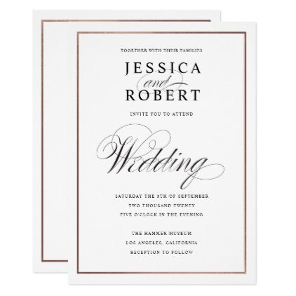 Elegant Script Faux Rose Gold Border Wedding Invitation Wedding