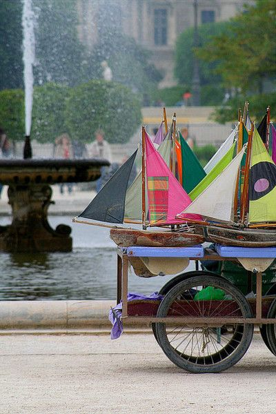 Wood sailboats in Tuilleries Gardens.