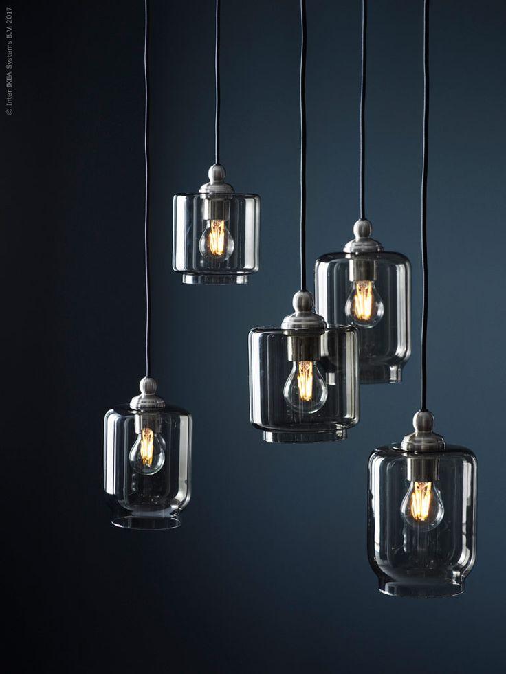 GOTHEMupphäng,KLOVANtaklampskärm, LUNNOM LEDljuskälla.