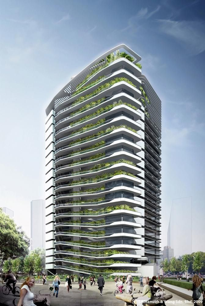 Spire Edge Office Tower, Manesar, India. Architects: T.R. Hamzah & Yeang Sdn Bhd