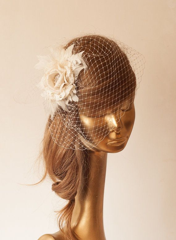 Ivory  BIRDCAGE VEIL with Cream Flower Vintage by ancoraboutique