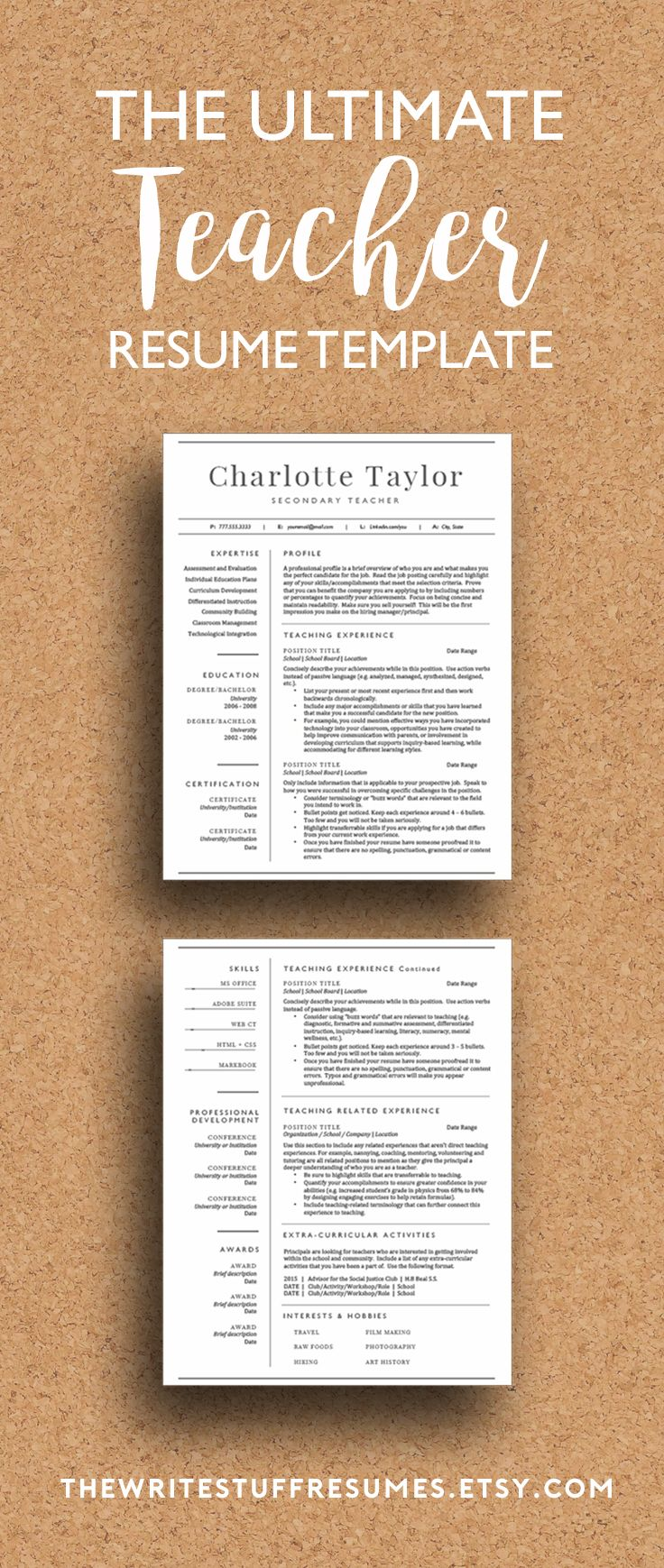 17 best ideas about teacher resume template resume teacher resume template cv template ms word professional resume design cover letter mac or pc 2 page resume instant